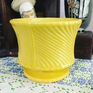 VTG Primary Yellow Floraline USA Ceramic Planter